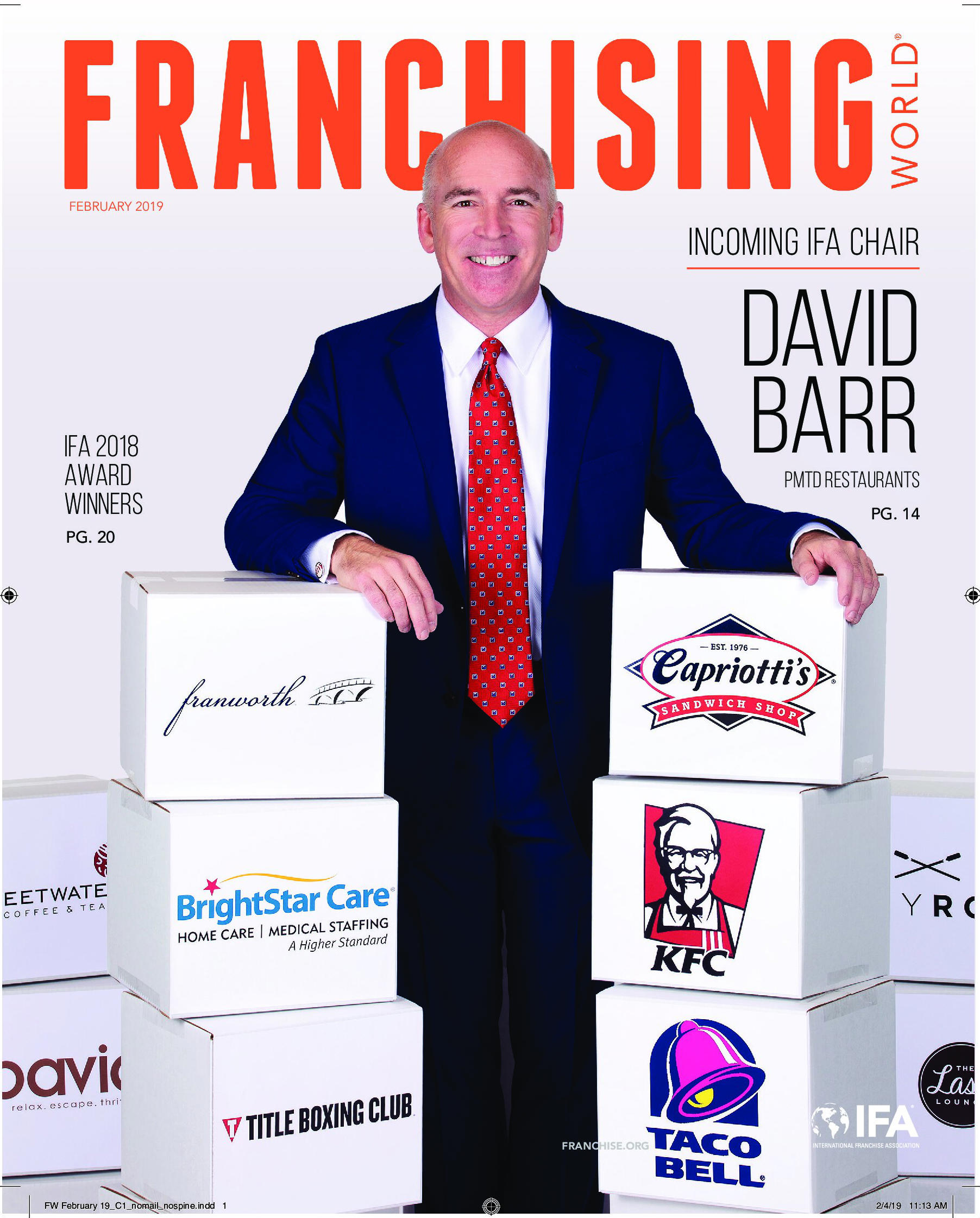 New IFA Chair David Barr of PMTD Restaurants on the cover of Franchising World.