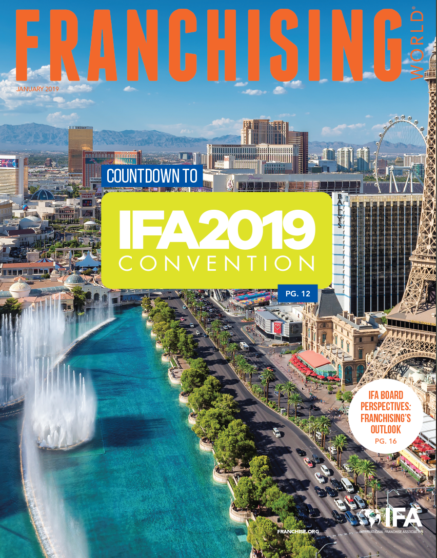 The IFA 2019 Annual Convention on the cover of January 2019 Franchising World.