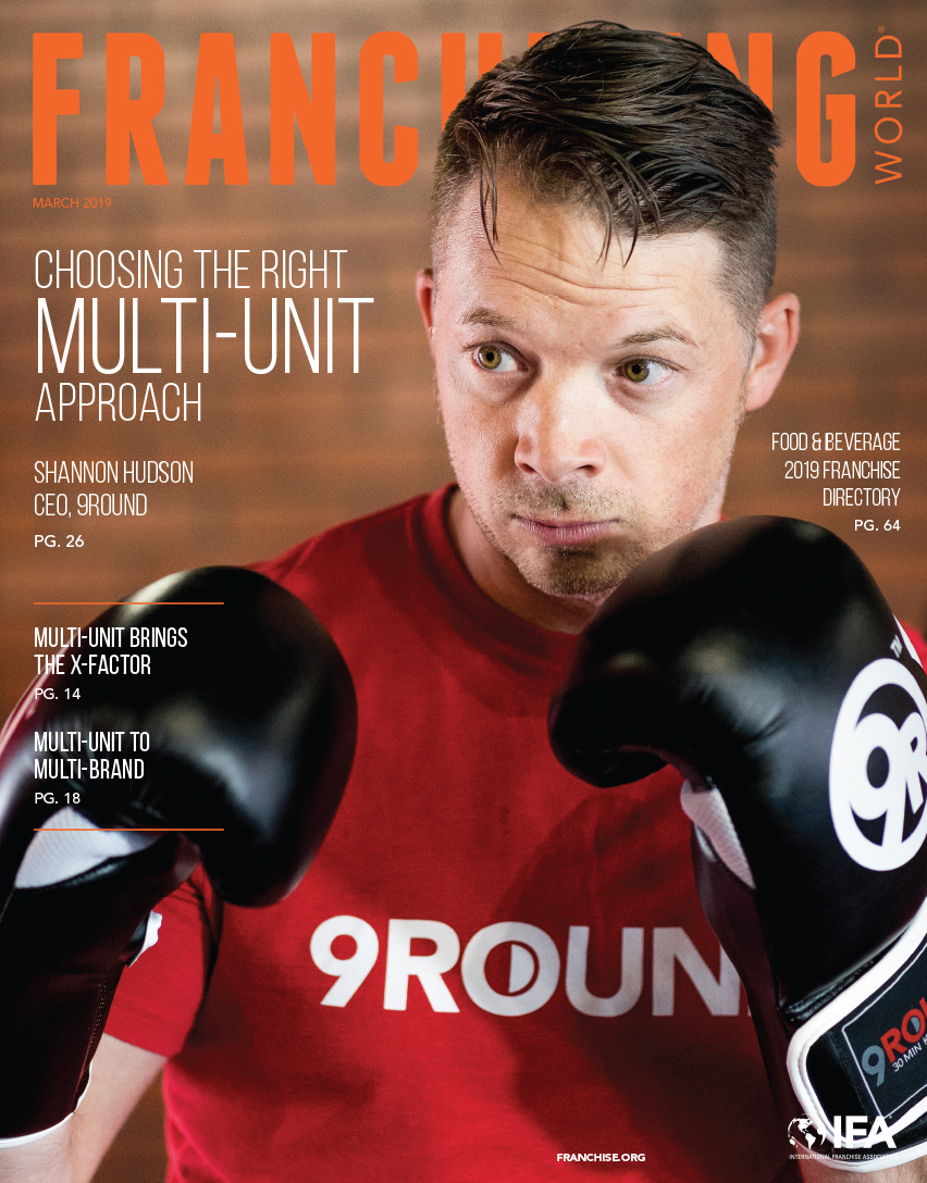 Franchising World March 2019 cover featuring 9Round's Shannon Hudson.