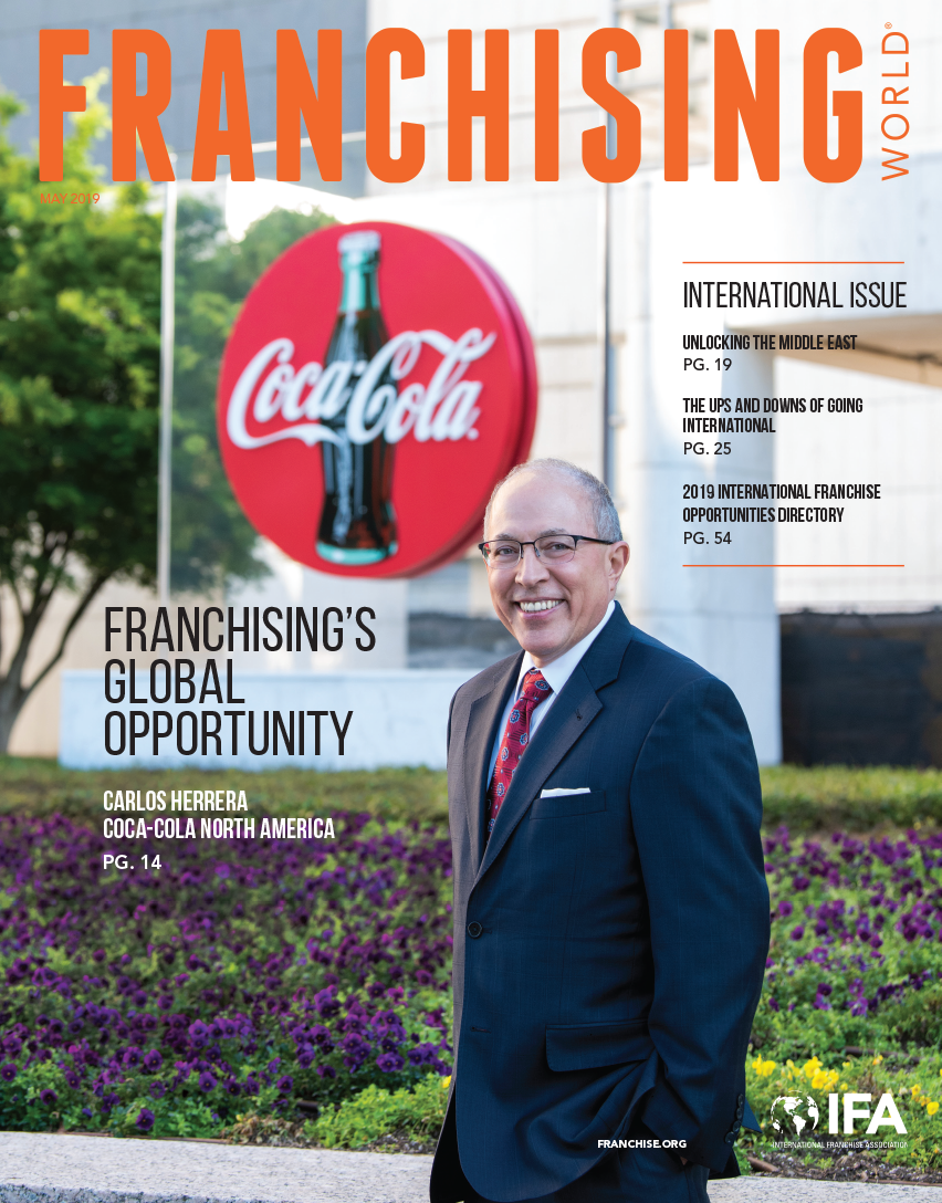 The May 2019 edition of Franchising World is highlights the 2019 International Franchise Opportunities Directory.