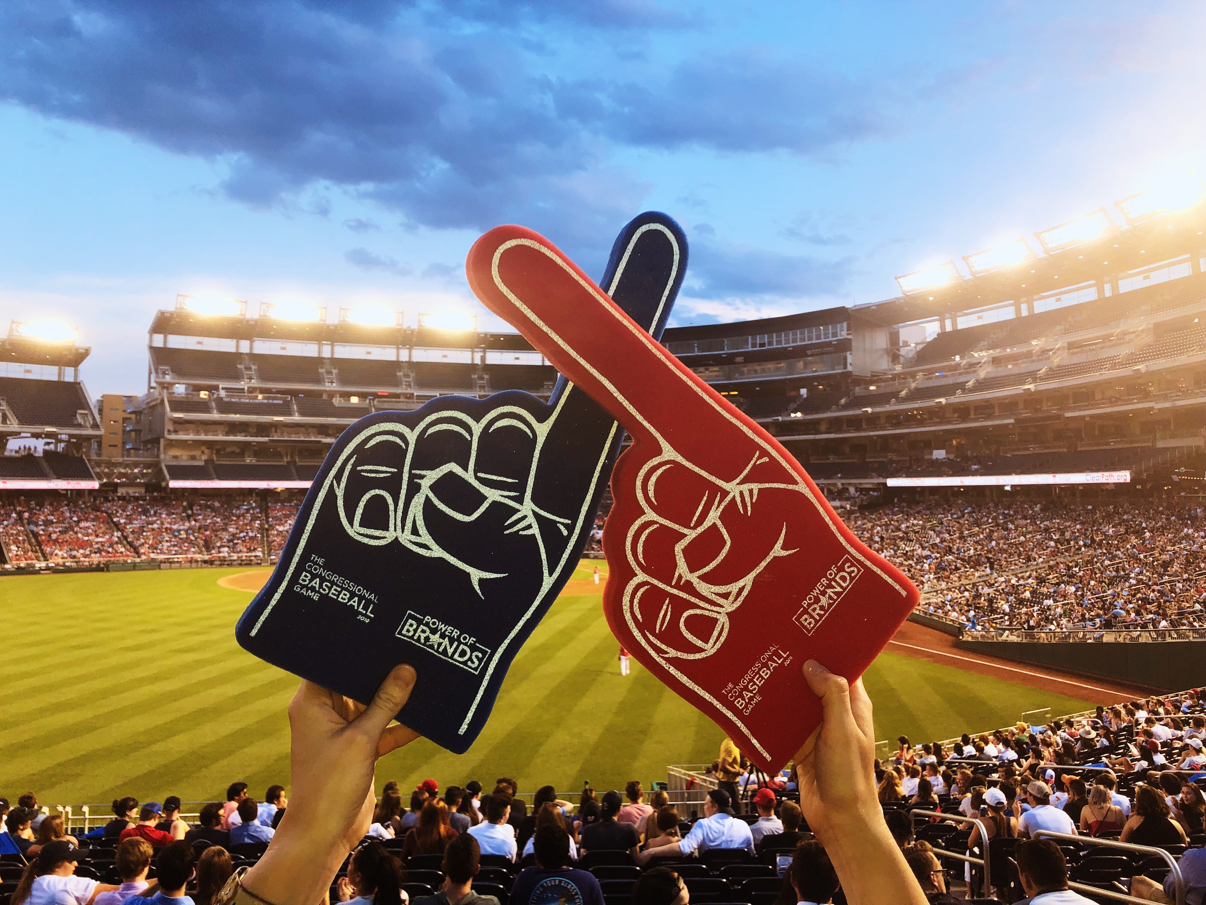 Foam fingers with Nationals park in the background