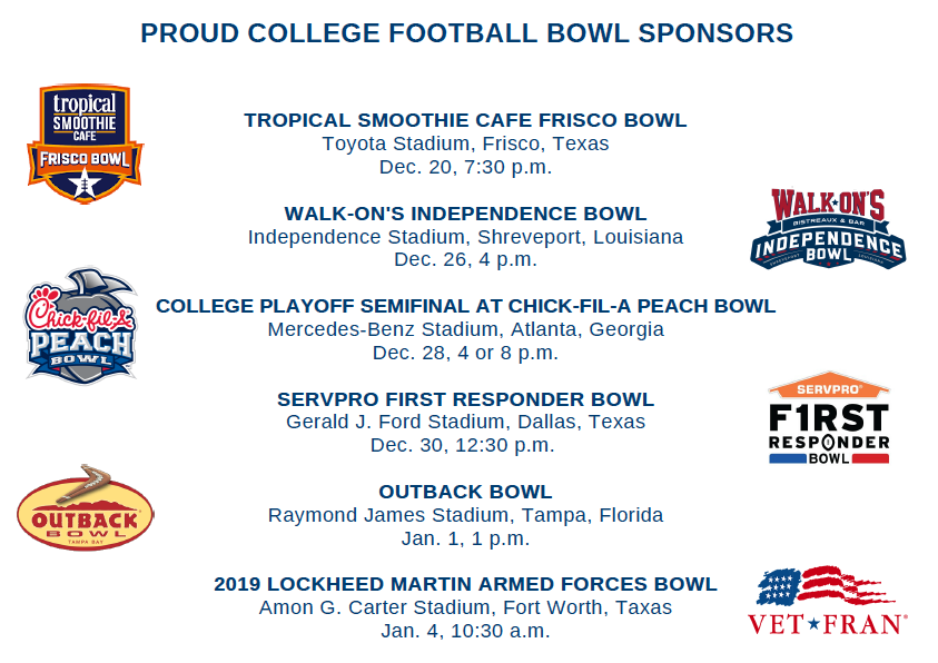 2019 College Football games sponsored by franchise brands